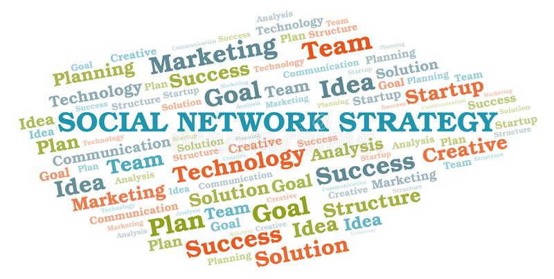 Social Network Strategy word cloud. Wordcloud made with text only royalty free illustration