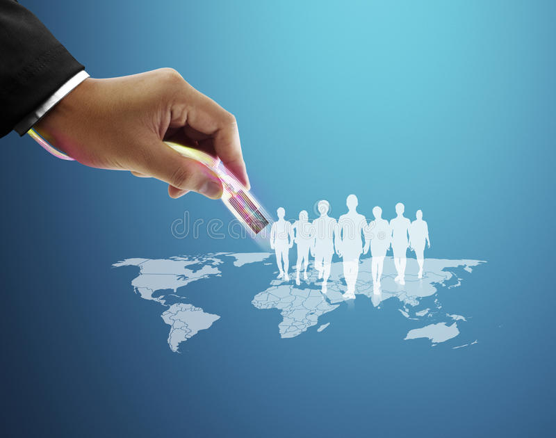Social network structure. Hand pushing social network structure stock images