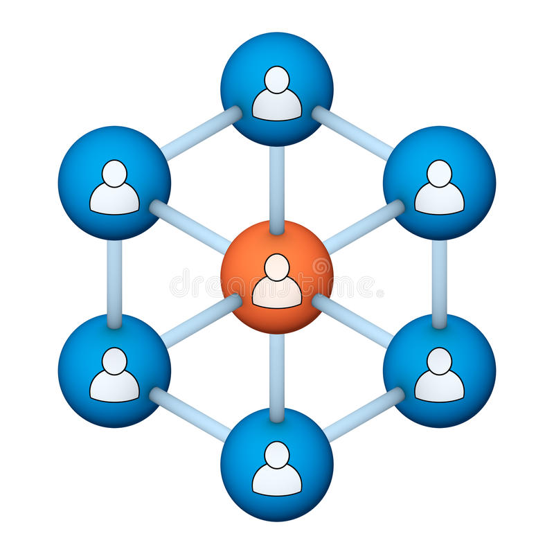 Social network symbol. Social network structure 3d symbol stock illustration