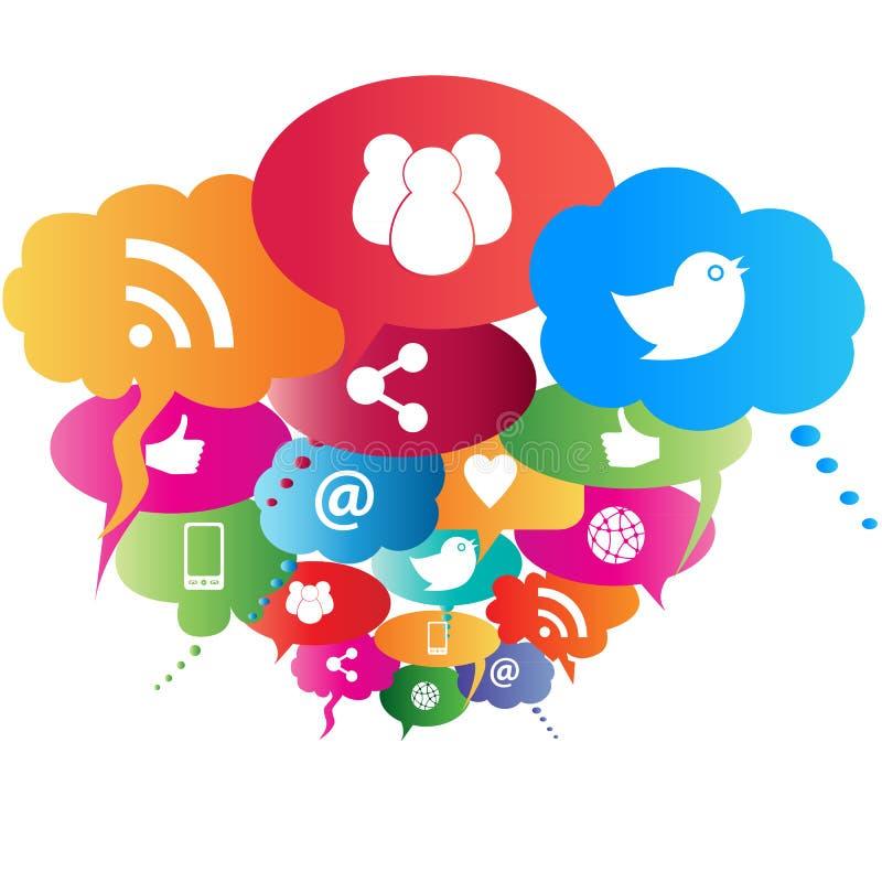 Social network symbols. In speech balloons vector illustration