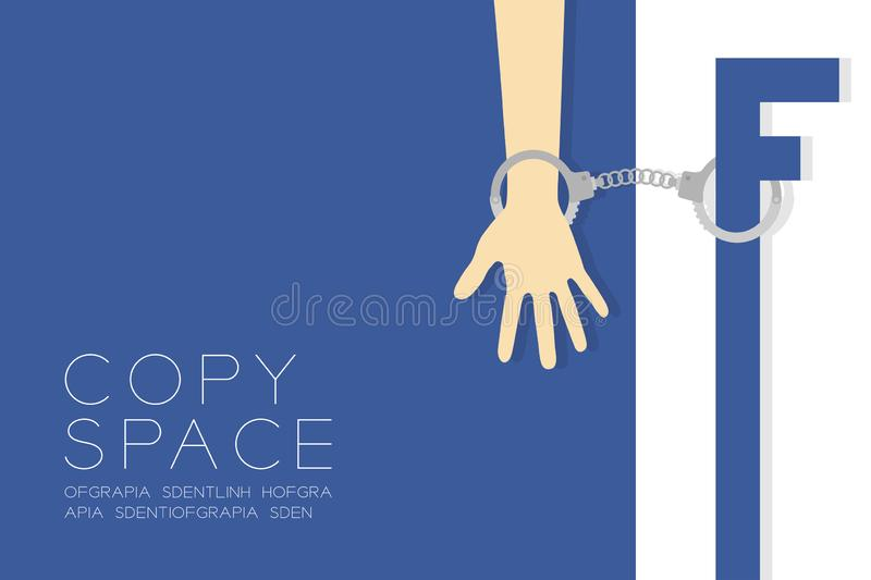 Social network syndrome concept idea with handcuff illustration isolated on blue and white color background, with space. Social network syndrome concept idea stock illustration