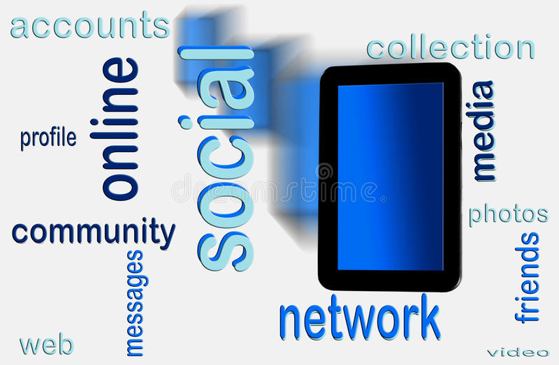 Download Social network on tablet stock illustration. Illustration of modern - 24717282
