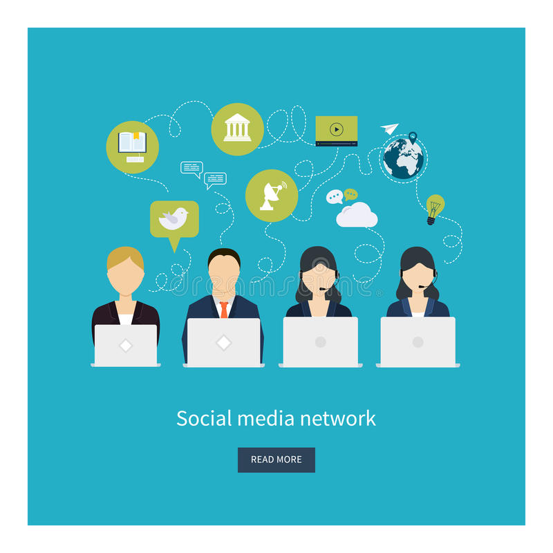 Social network and teamwork concept for web and vector illustration