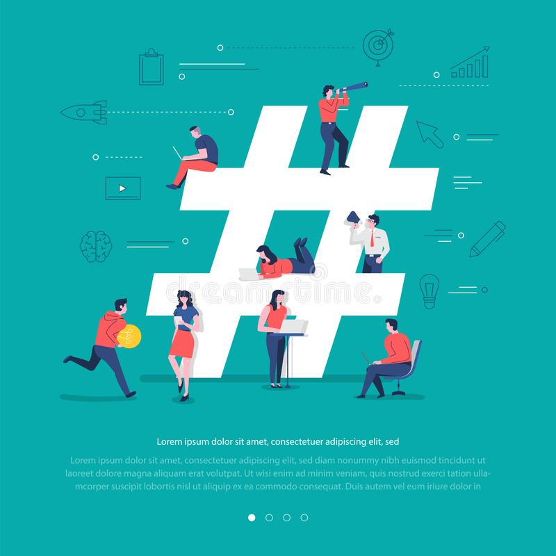 Social network teamwork vector illustration