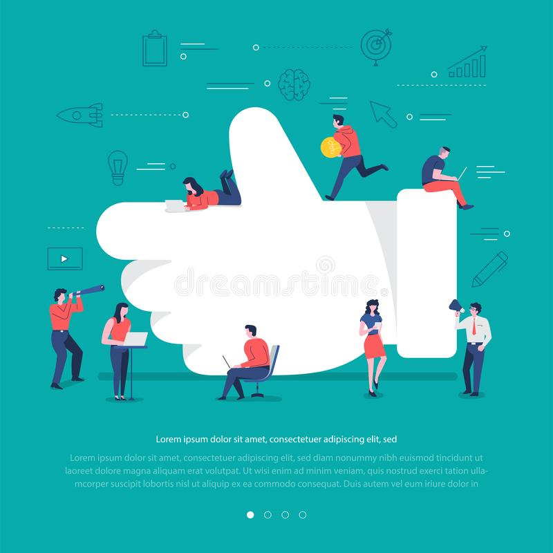 Social network teamwork. Flat design concept group of peoples work together building social network symbol like button. Vector illustrations stock illustration