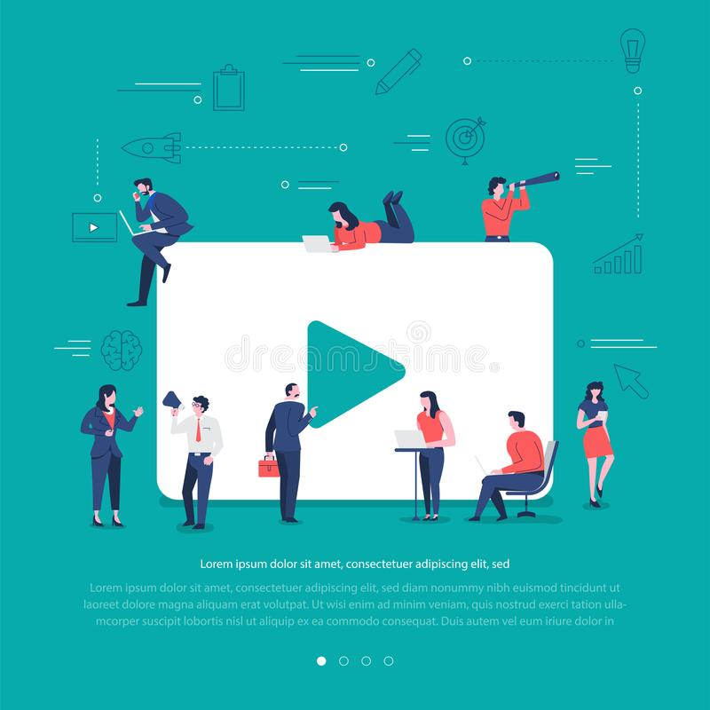 Social network teamwork. Flat design concept group of peoples work together building social network symbol video play. Vector illustrations royalty free illustration