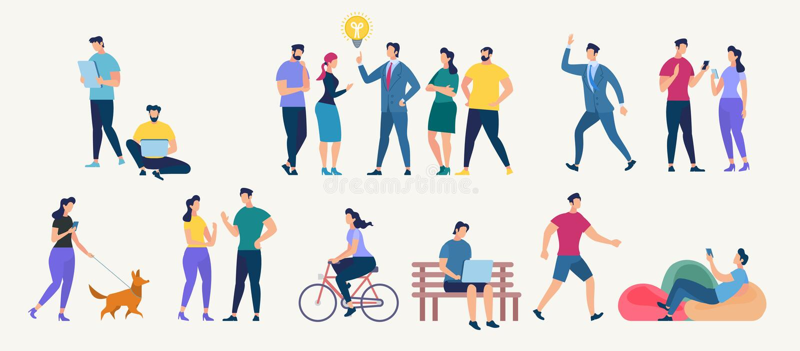 Social Network and Teamwork Vector Concept. Social Network and Teamwork Concept. Communication systems and Digital Technologies. Networking People and Human royalty free illustration