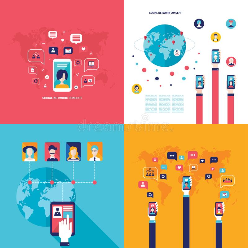 Social Network Technology Banner set People using various electronic devices. Tablet and Mobile phone applications vector illustration