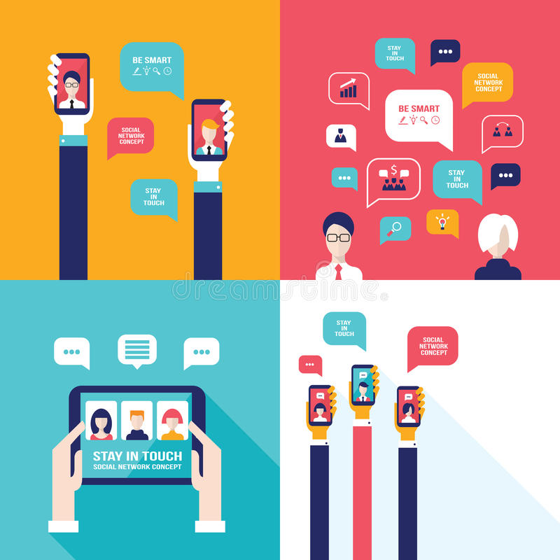 Social Network Technology Banner set People using various electronic devices royalty free illustration