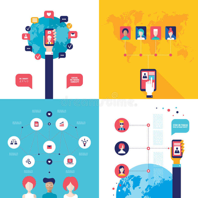 Social Network Technology Banner set People using various electronic devices vector illustration
