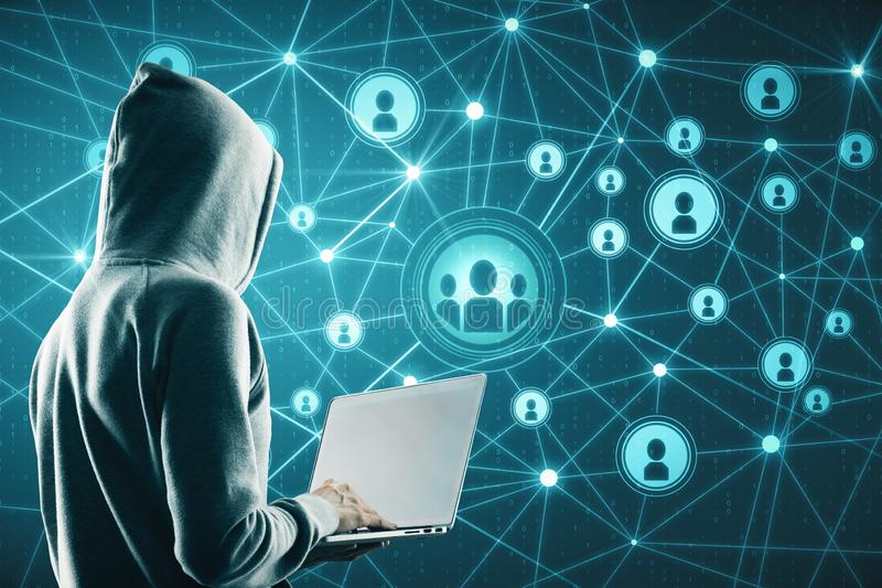 Social network and theft concept. Hacker using laptop with glowing connections on blue digital map stock photos