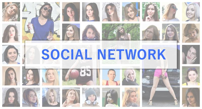 Social network. The title text is depicted on the background of stock photo