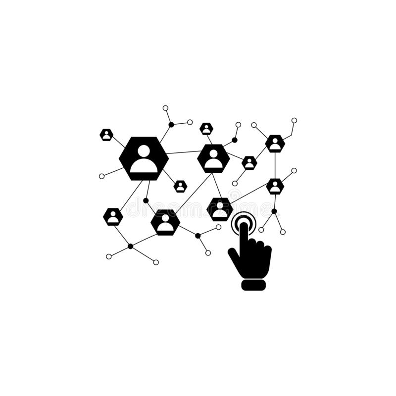 Social network on touch screen icon. Element of touch screen technology icon. Premium quality graphic design icon. Signs and symbo. Ls collection icon for royalty free illustration