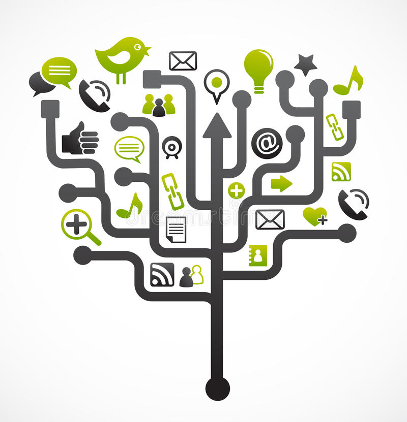 Social network tree with media icons. Illustration
