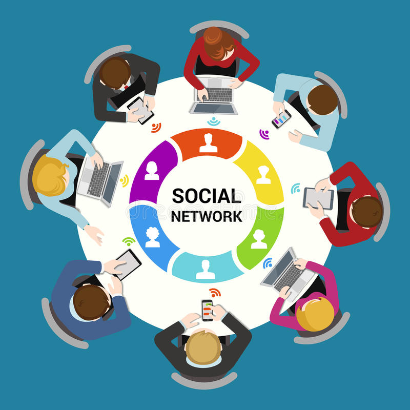 Social network usage flat vector concept: staff around table. Social network usage concept. Round office table top view business flat web infographic concept royalty free illustration