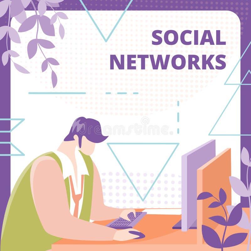 Social Network User Flat Vector Banner Template stock illustration