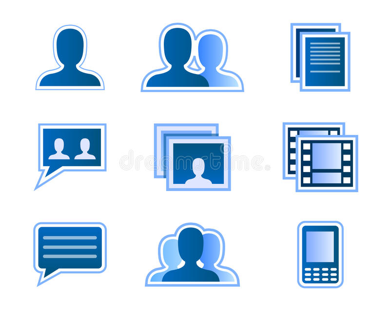Social network user icons. Vector illustration as icon set for social network and user interface, with buttons for user, friends, groups, photo and video gallery stock illustration