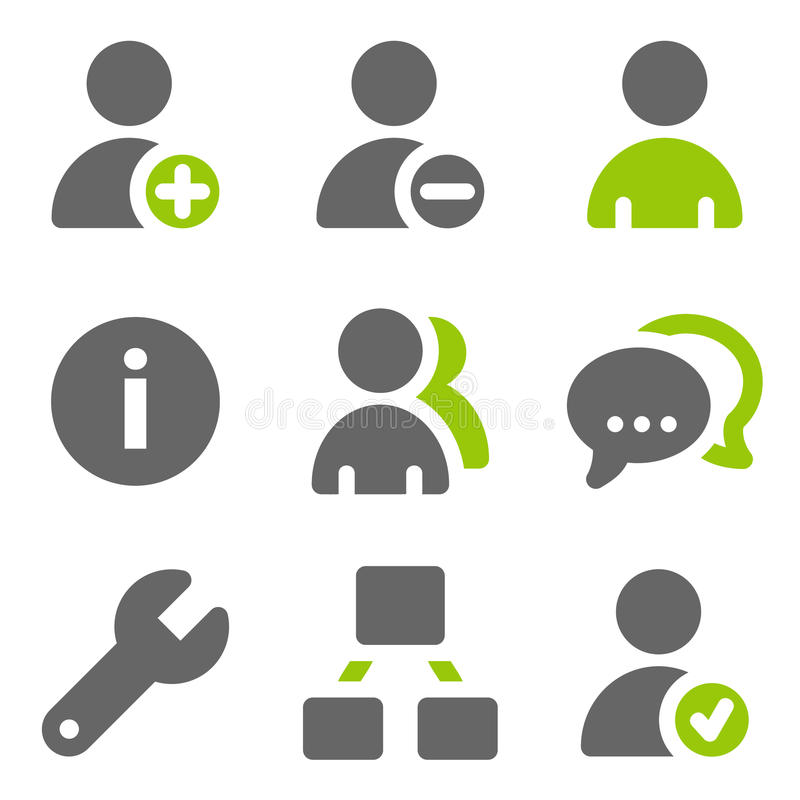 Social network users web icons, green grey solid stock illustration