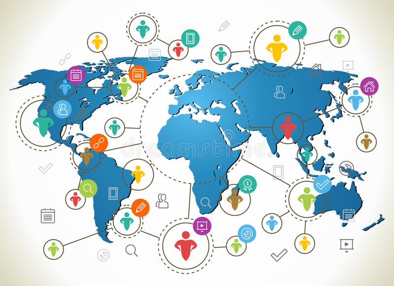 Social Network. Various shapes sparkling Pictograms. Flat design concept with World Map stock illustration