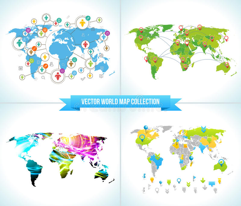 Social Network. Various shapes sparkling Pictograms set. Collection Flat Design concept with World Maps. Team Chatting stock illustration