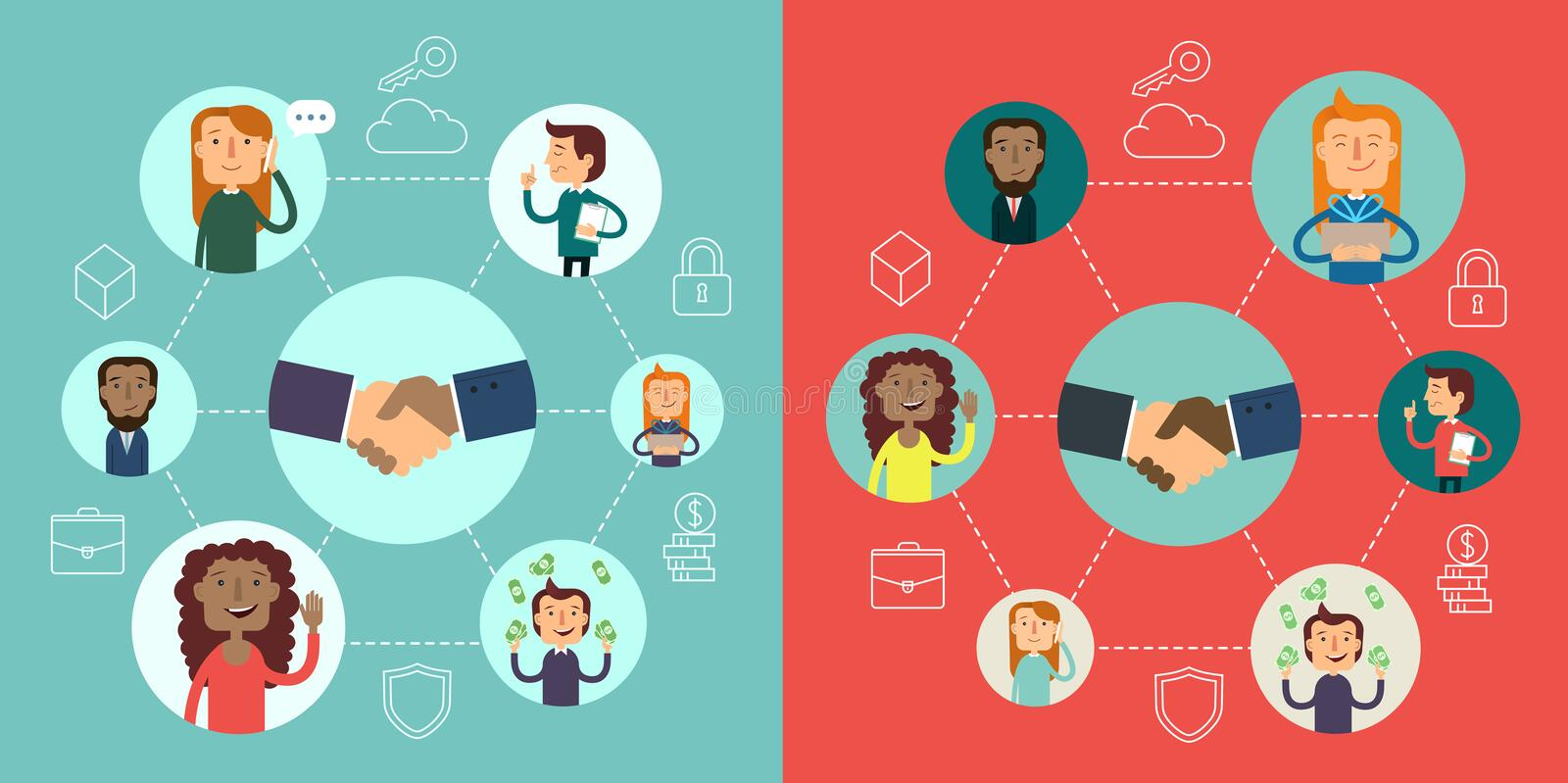 Social network vector concept. Flat design illustration for web sites. infographic design. communication systems and stock illustration