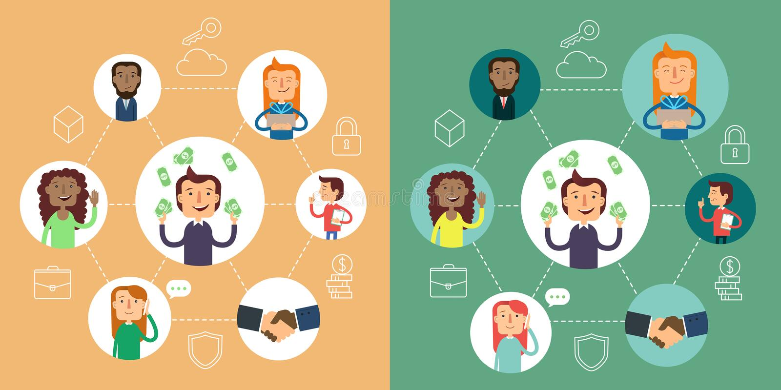 Social network vector concept. Flat design illustration for web sites. infographic design. communication systems and. Technologies. Business strategy vector illustration