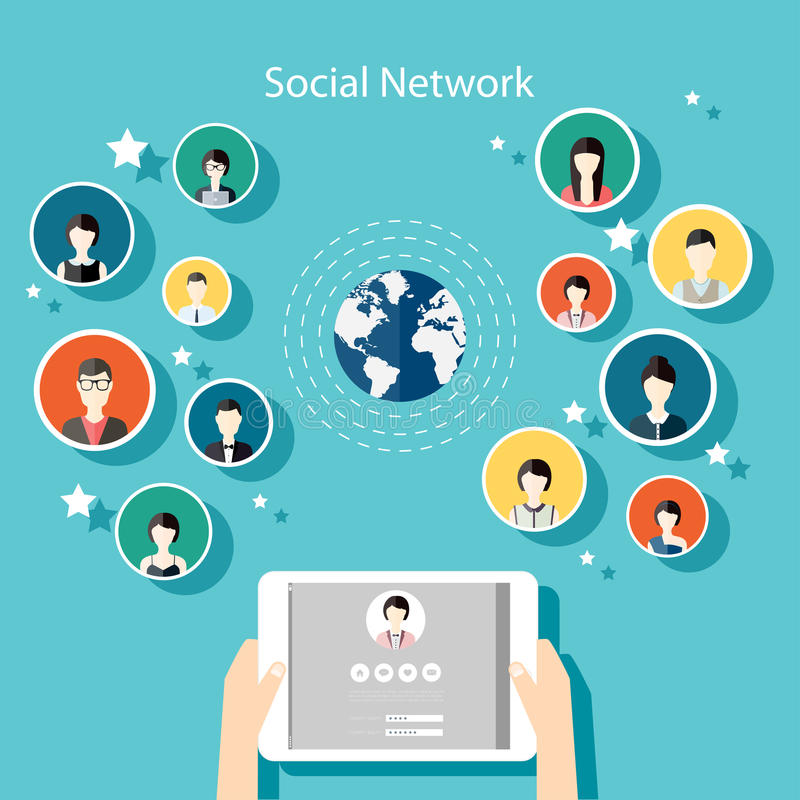 Social Network Vector Concept. Flat Design Illustration for Web. Sites Infographic Design with human hand with tablet avatars. Communication Systems and vector illustration