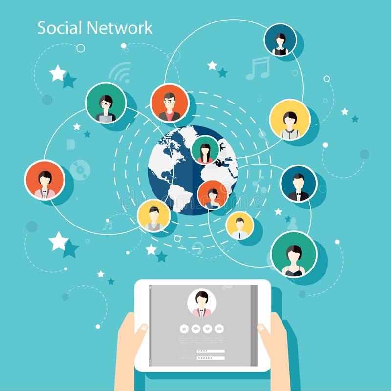 Social Network Vector Concept. Flat Design Illustration for Web stock illustration
