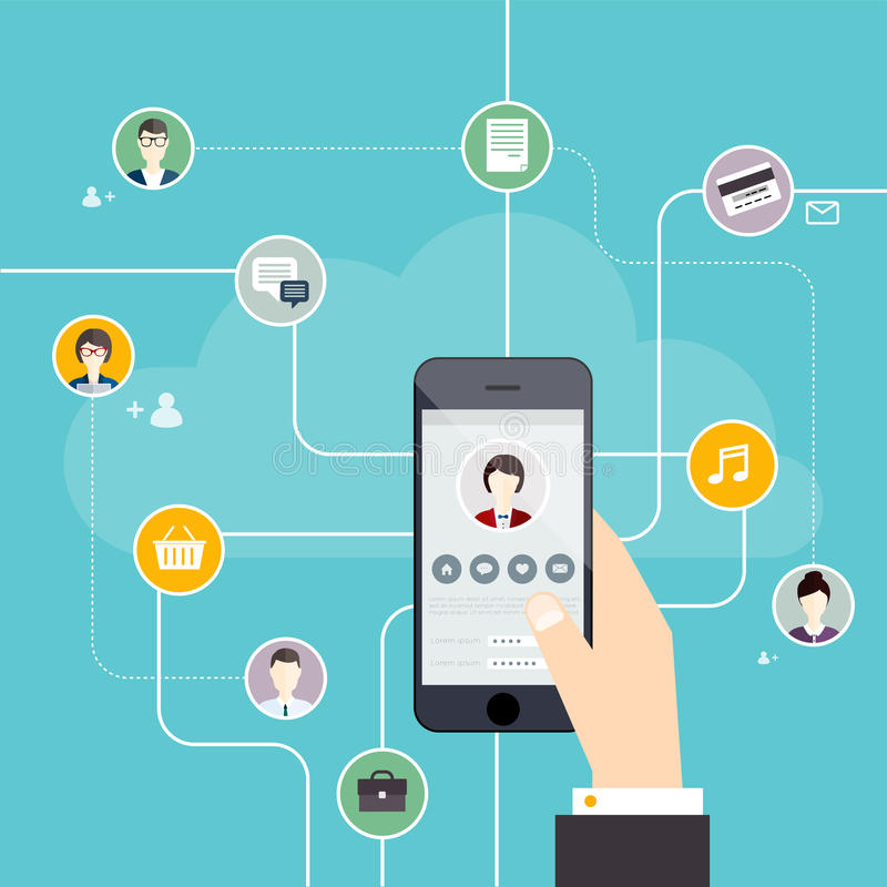 Social Network Vector Concept. Hand touching the tablet screen w royalty free illustration
