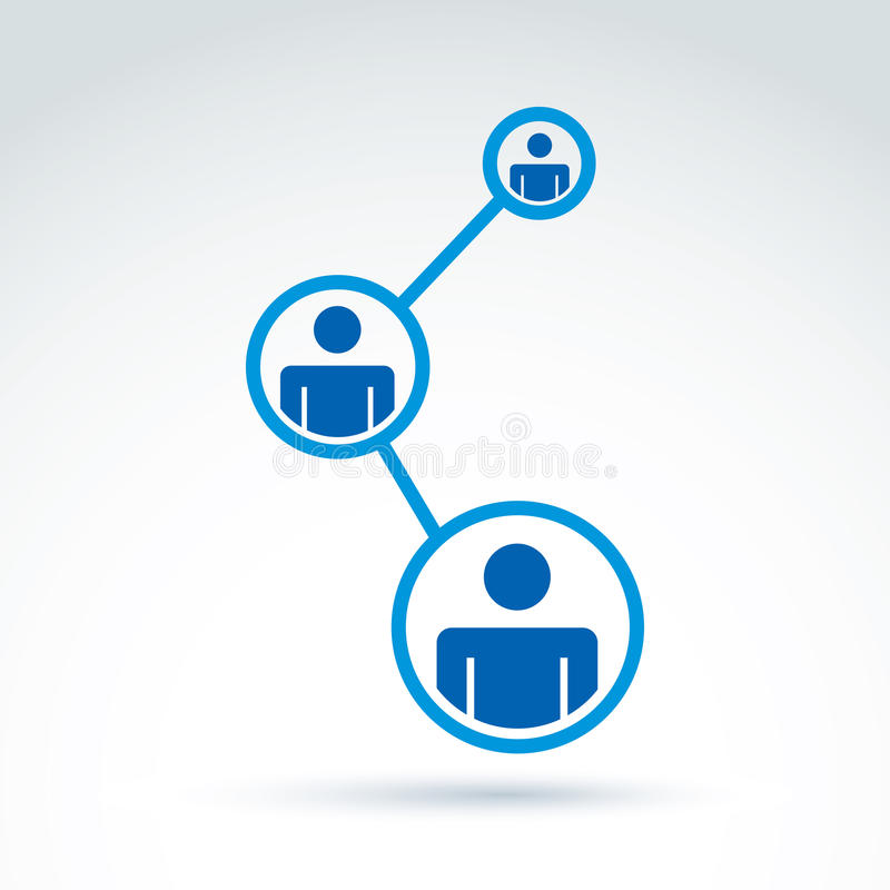 Social network vector illustration, people relationship icon, co. Nceptual link sign. Structure symbol with silhouettes of people standing in circles stock illustration