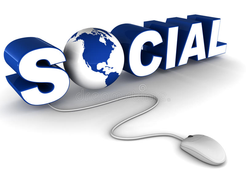 Social network on web. Social network on world wide web concept, word social with earth globe and a mouse connected to it on white background vector illustration