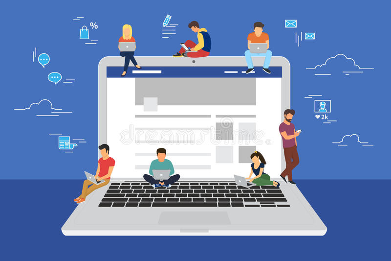 Social network web site surfing concept illustration. Of young people using mobile gadgets such as smarthone, tablet and laptop to be a part of online community vector illustration