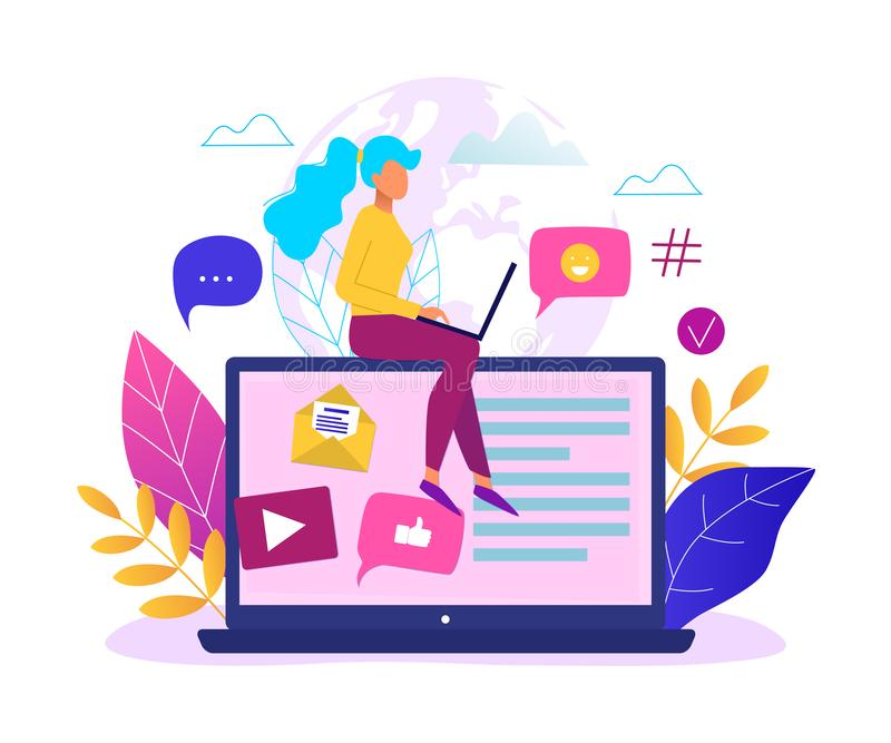 Social network, web site surfing concept vector illustration. Woman using a laptop stock illustration