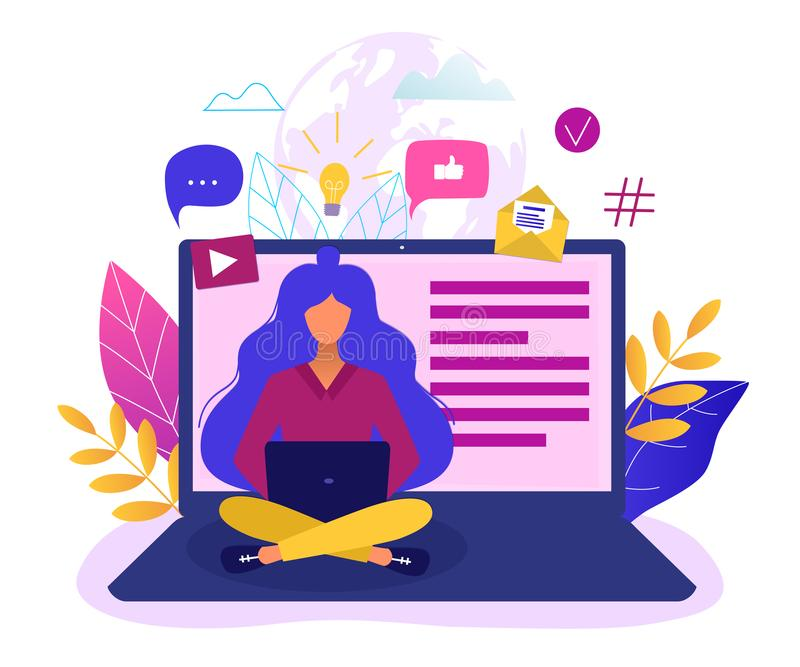 Social network, web site surfing concept vector illustration. Woman using a laptop vector illustration