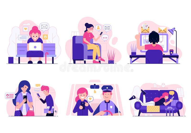 Social Network and Web Surfing Concept royalty free illustration