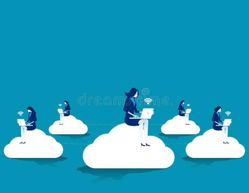 Social network website surfing. Concept business technology vector illustration. Flat design style stock illustration
