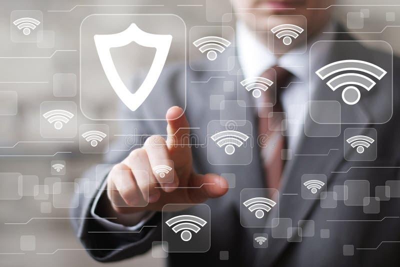 Social network Wifi business button shield security virus icon. Social network Wifi business button shield security virus