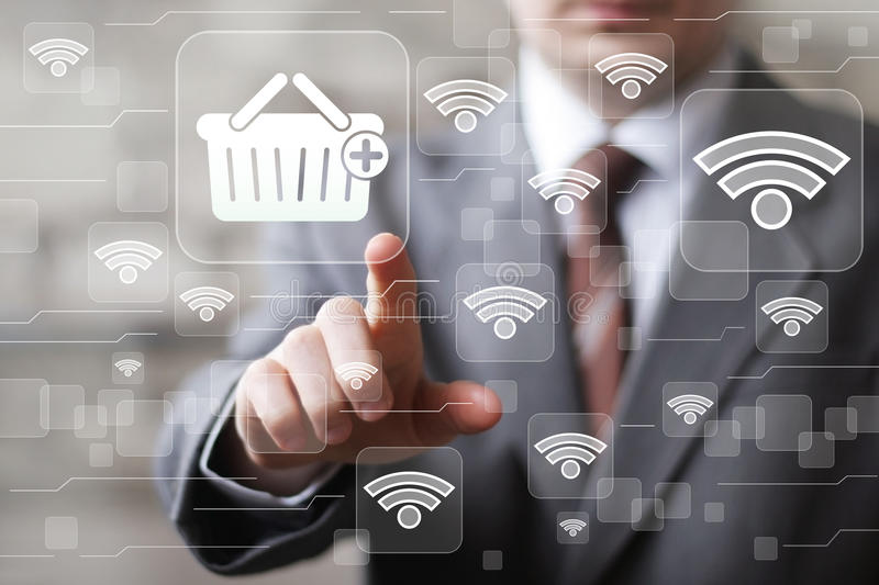 Social network Wifi businessman presses web button shopping icon royalty free stock images