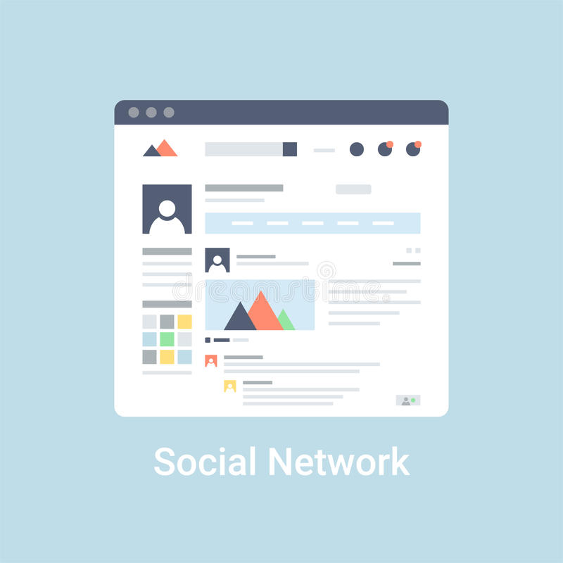 Social Network Wireframe. Social network website wireframe interface template. Flat vector illustration on blue background vector illustration