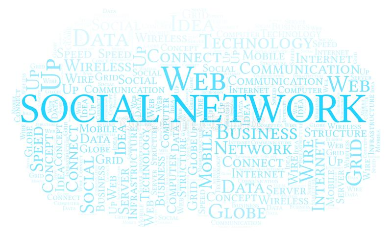 Social Network word cloud. Word cloud made with text only vector illustration