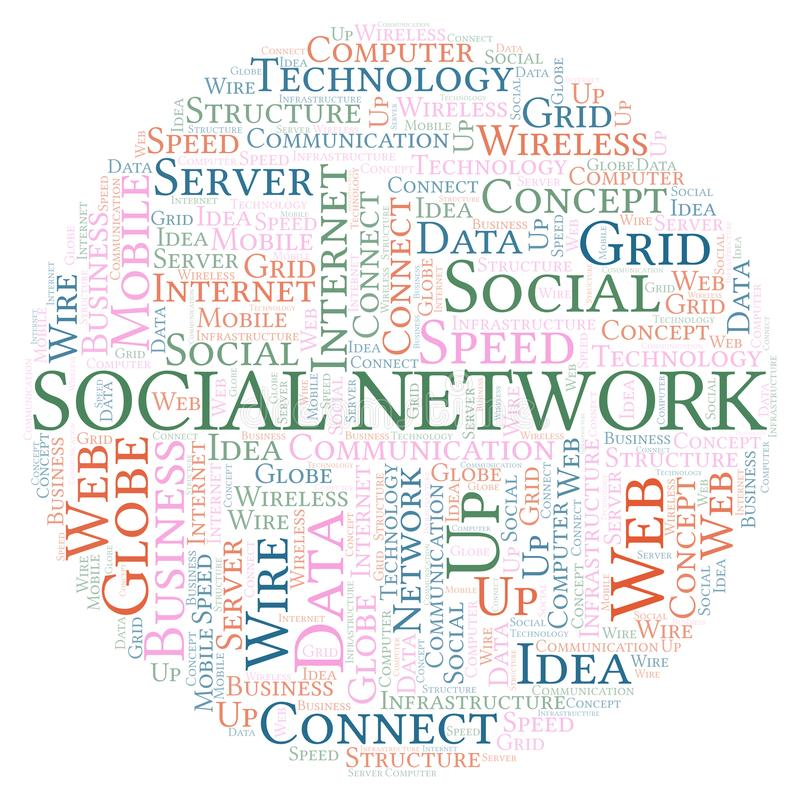 Social Network word cloud. Word cloud made with text only royalty free illustration