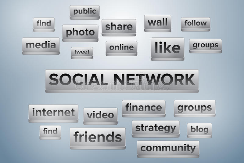 Social network word cloud shaped like keyboard buttons stock illustration