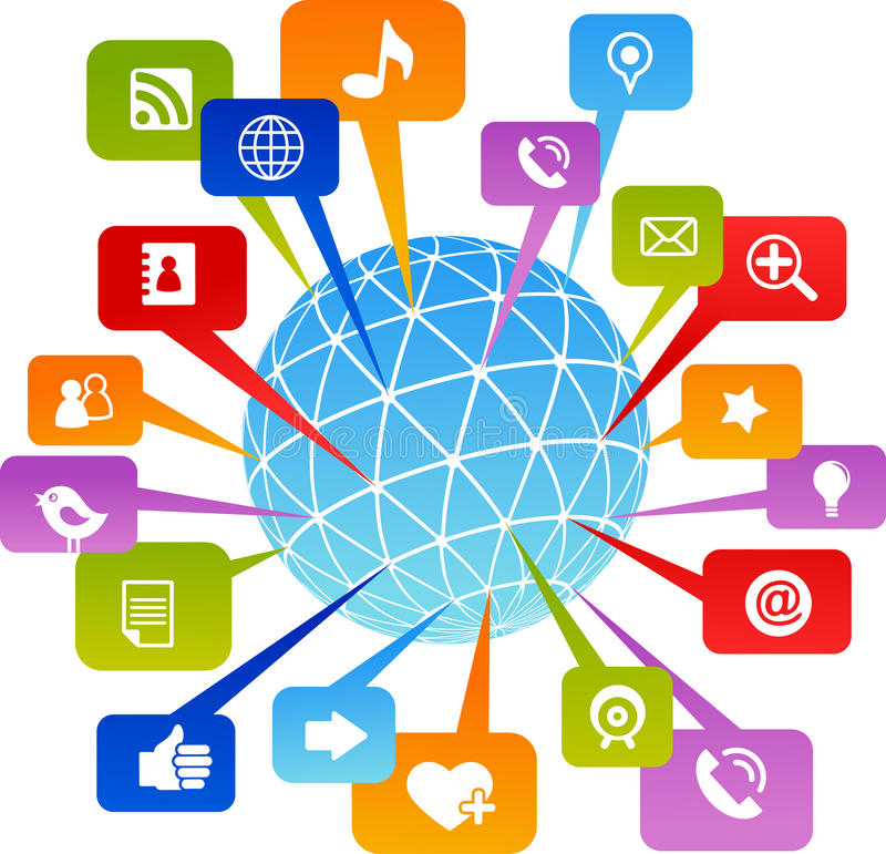 Social network world with media icons royalty free illustration