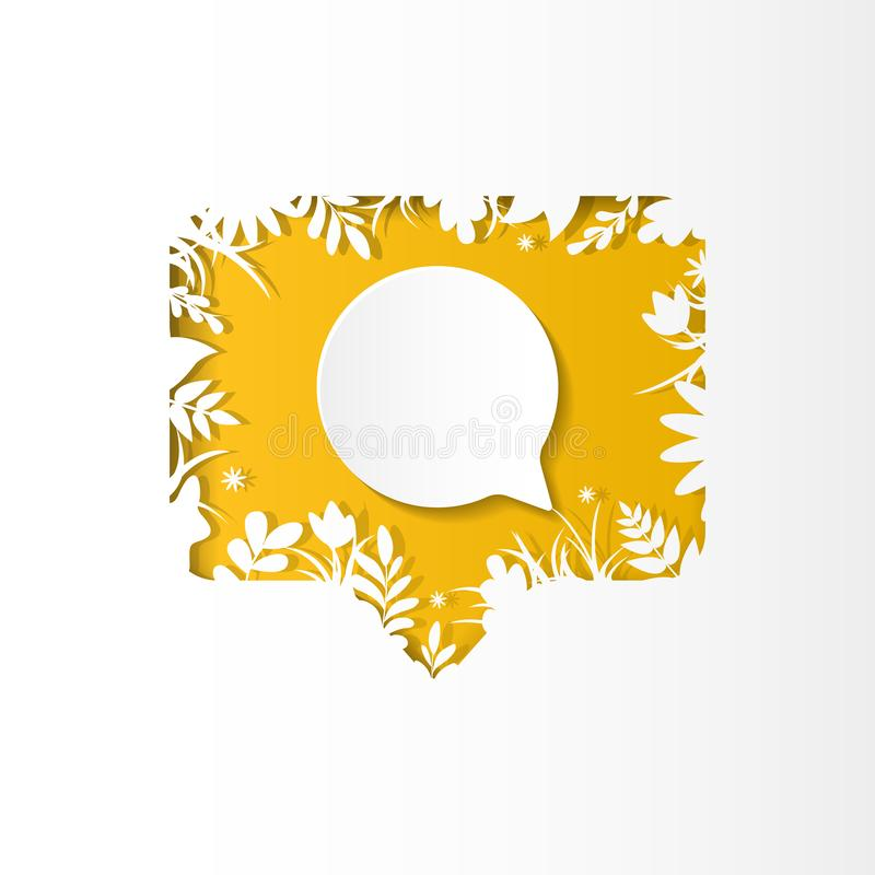 Social network icon follower, new comment, paper cut style. Social network yellow icon new comment with white plants, grass, leaves and flowers, paper cut style stock illustration