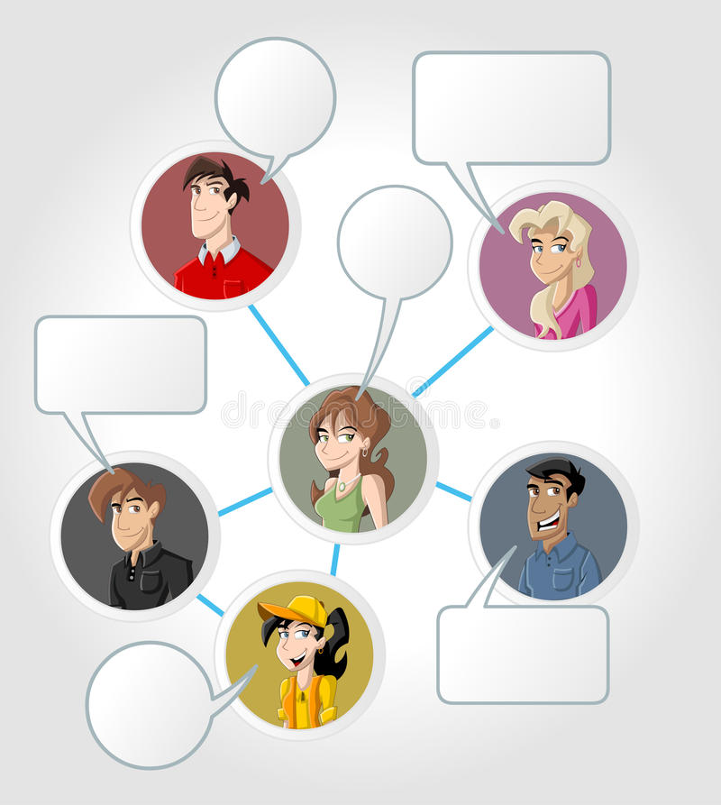 Social network. Young people connected. Social network stock illustration