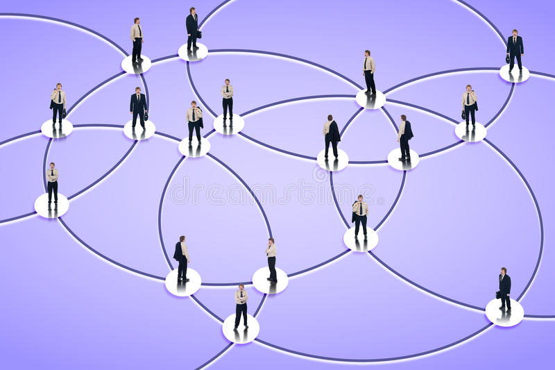 Social networking. Graph with businessman in the nodes stock images