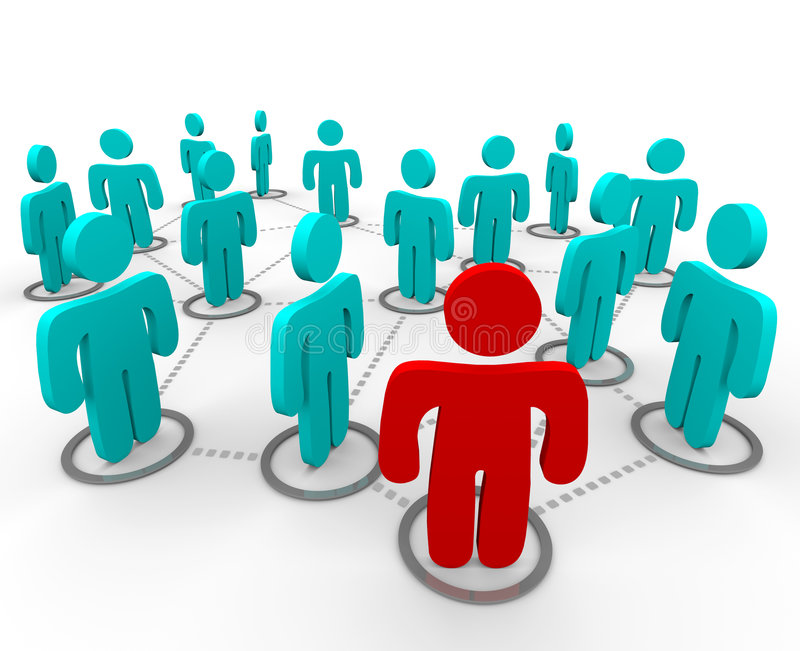 Social Networking. A red figure stands at the forefront of a group of blue figures, all interconnected in a social network royalty free illustration
