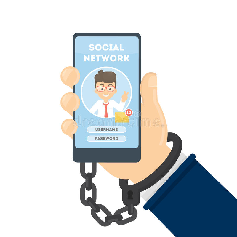 Social networking addiction. Hand bounded to smartphone stock illustration
