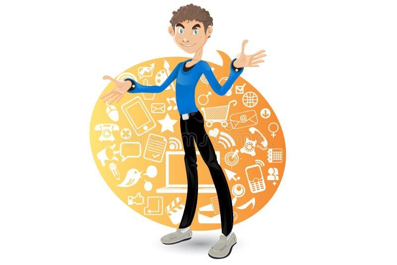 Social Networking Boy vector illustration