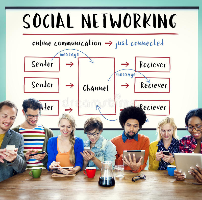 Social Networking Channel Diagram Graphic Concept. Group of people connected with social networking stock photo